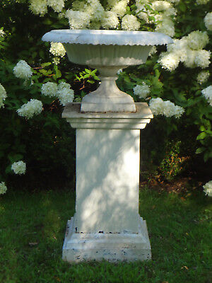 "ANTIQUE 1800s ESTATE GARDEN 48"" CAST IRON URN PLANTER STATUARY ON PEDESTAL STAND"