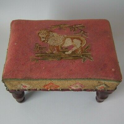 Victorian Footstool with Lion Embroidered Upholstery