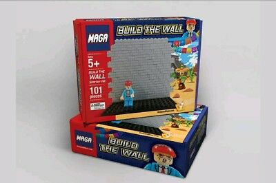 MAGA-Toy Block Set-BUILD THE WALL-President Trump Hard Hat Figure.AWESOME!!!