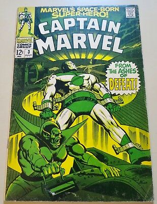 18-C1592: Captain Marvel # 3, 1968, F- 5.5! Movie out March 2019! See Promo!