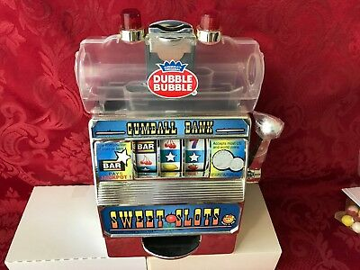 """VINTAGE Double Bubble Gum """"SLOT MACHINE"""" Bank Candy Dispenser Gumball-NEW IN BOX"""