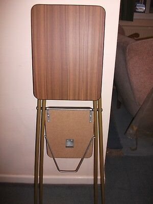 Vintage two tier projector stand folds flat 1 m tall teak colour