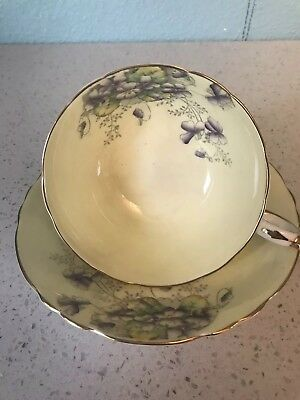 Paragon English Yellow With Purple Violets W/Gold ,Pedestal Tea cup and saucer