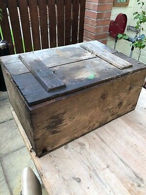 Vintage Old Pine  Box Toolbox Wooden Box Small Chest Trunk