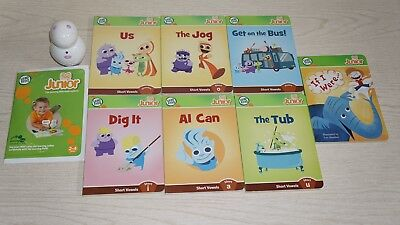 Leap Frog Reader Tag Junior Jr Purple White with 7 Book Lot