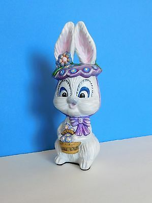 Girl Bunny, Wearing Hat, Bow, Basket of Flowers, Hand Painted, Easter Figurine