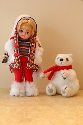 "Madame Alexander  ""Off To The North Pole Coca Cola""  8"" Doll  and Bear  #25245"