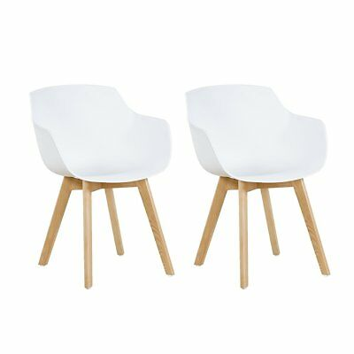2 x White Armchair Dining Chair Modern Lounge Chairs Plastic With Wooden Leg