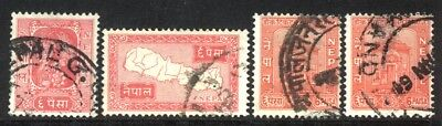 1954,1959 NEPAL SET OF 4 USED STAMPS (Michel # 70,82,118)