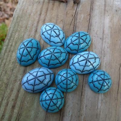 Rare Aqua Turquoise Blue Glass Dome Cab Cabochons Mosaic Artsy Craft Pieces DIY