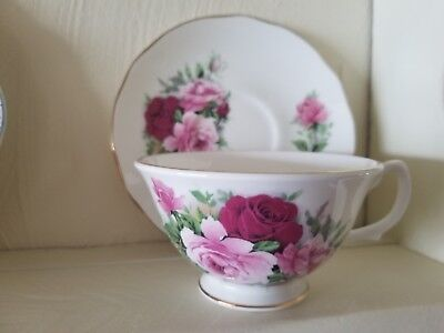 Golden Crown Tea Cup & Saucer Fine Bone China made in England White w Pink Roses