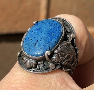 Antique Old Chinese Silver Blue Lapis Lazuli Cabochon Dragon Fish Ring