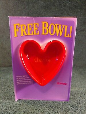 General Mills 2001 Cheerios Cereal Bowl, Red Heart Shaped w/box