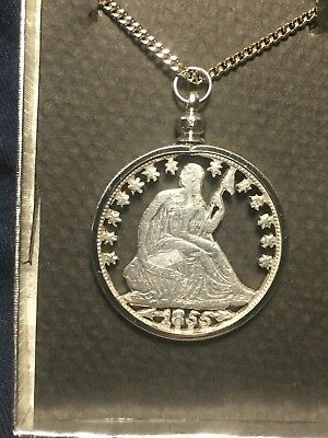 Silver Half Dollar Coin Pendant Vintage 1855 Seated Liberty Half Dollar