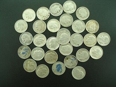 (30) 1964 & Earlier Roosevelt Dimes 10c Silver Coins CIRCULATED **NO RESERVE**