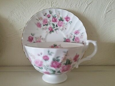 Hudson Middleton Tea Cup and Saucer White with Pink Roses made in England