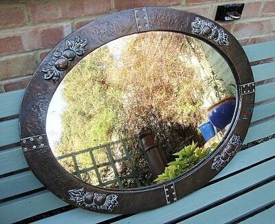 Lovely Large Arts & Crafts Copper Riveted Oval Mirror Fruit Leaves Hayle Cornish