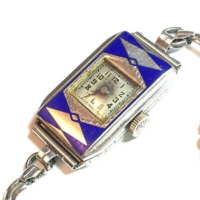 1920's Ladies Art Deco Blue Enamel Elgin Watch 14k GF