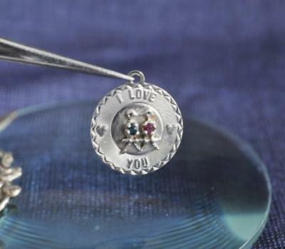 Pretty Medallion-Style I Love You Sterling Silver Charm w/Red and Blue Crystals