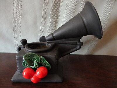 Jan's of California Black Wall Pocket Victrola Red Cherries vase Vintage