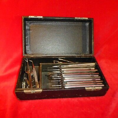 Great Antique Named Surgical Eye Cased Instrument Set / Locks Work On Front