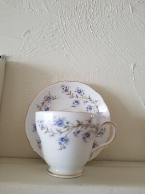 Tea Cup and Saucer Duchess Bone China made in England White with Blue Flowers