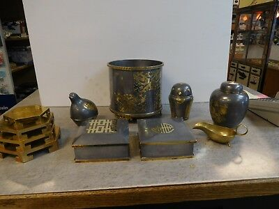Vintage Assortment of Pewter & Brass Decor Made in Hong Kong $200 takes all