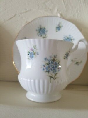 Royal Heritage Tea Cup and Saucer Bone China made in England White with Blue Flo