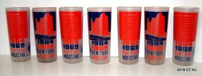 NEW YORK WORLD'S FAIR 1964-1965 Frosted Drinking Glass HALL OF SCIENCE Set of 7