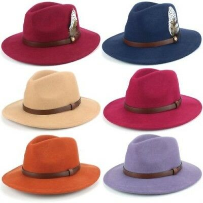 Fedora Hat Wool Felt Hawkins Feather Band Trilby Ladies Men Travel Brim  Travel b4eb6c1e1a6