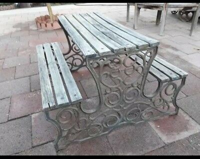 Vintage Ornate Cast Iron Bases Childs Picnic Table Ends