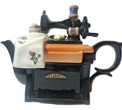 Paul Cardew Design LARGE Sewing Machine Table Musical Teapot Roses Fabric 1991