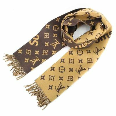 0b44c85bfc1e LOUIS VUITTON × Supreme Scarf 2017 AW Brown Monogram Cashmere and Wool New
