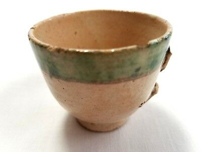 Antique Small Hand-painted Old Stoneware Pottery Cup Goblet - Clay and Green Col