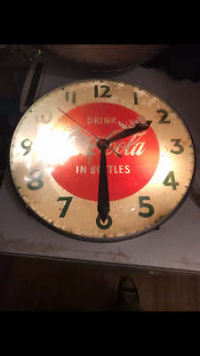 """Vintage Swihart Coca Cola """"Pam"""" Double Glass  Clock For Parts Or Rapair"""