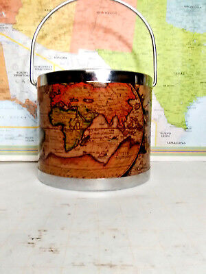 Vintage Metal Ice Bucket Old World Map Decor With Plastic Liner Made in Japan