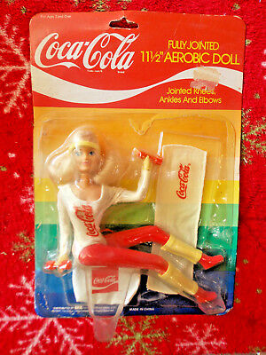 """Vintage 1986 Coca Cola Collection Aerobic Doll 11.5"""" Fully Jointed Barbie Doll"""