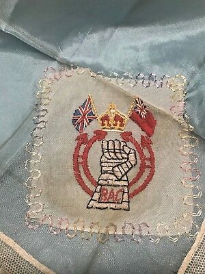 Antique Handkerchief ~ Royal Army Corp.  Embroidered and Lace ~ British WWII
