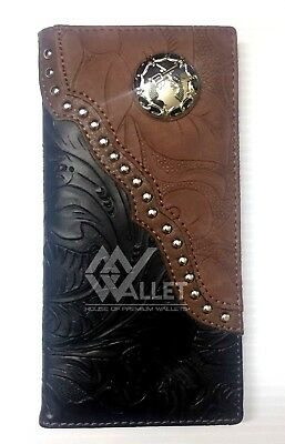 Black/Brown Western Style Floral Design Bifold Checkbook Wallet With Guns Concho