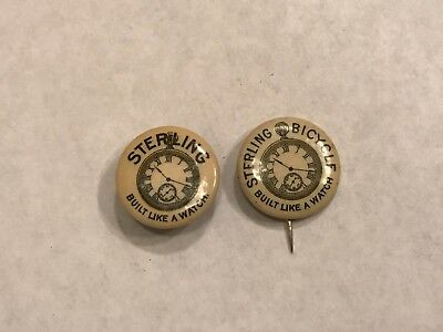 2 Different Estate Very Rare 1894 Sterling Bicycle Co Badges Built Like A Watch