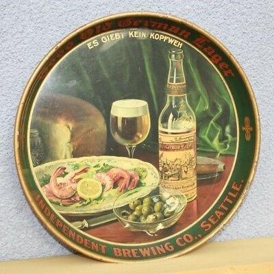 Early 1900's Seattle Independent Brew Co Pre-Prohibition Beer Tray Cigar Shrimp