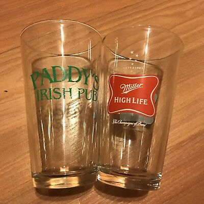 2 Beer Pint Glasses Miller High Life / Paddy's