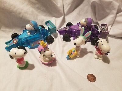 LOT of 6 SNOOPY FIGURES  EASTER & VALENTINES & Racing  Car PEANUTS