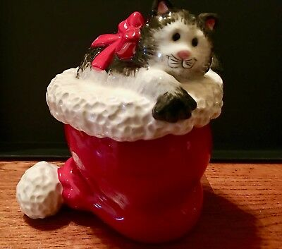 """Vintage Fitz and Floyd """"Kitty Clause""""  Container with Lid Ceramic"""
