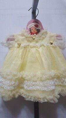 Vtg Infant Girl Newborn Yellow Sheer Chiffon? Frilly Lace Party Pageant Dress Nb