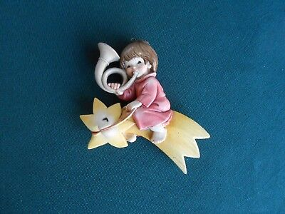Anri Christmas Ornament Carved Child w Horn Riding Shooting-Star Moon  - Italy