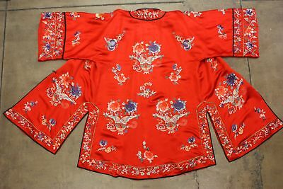 True Vtg 1940s/1950s Chinese Loungewear Red Silk Hand Embroidery Robe Pants Pj's