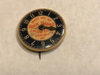 Estate Very Rare 1896 Worlds Fair Rock Island Plow Co Celluloid Clock Face Badge