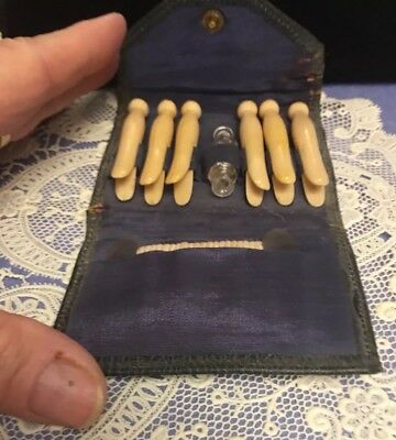 Celluloid Vintage  Miniature Portable Clothesline And Clothespins