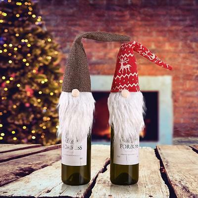 Christmas Snowman Wine Bottle Bags Cover Xmas Dinner Party Table Gift Decoration
